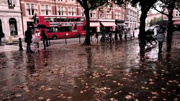 Sloane Square in the wind and rain