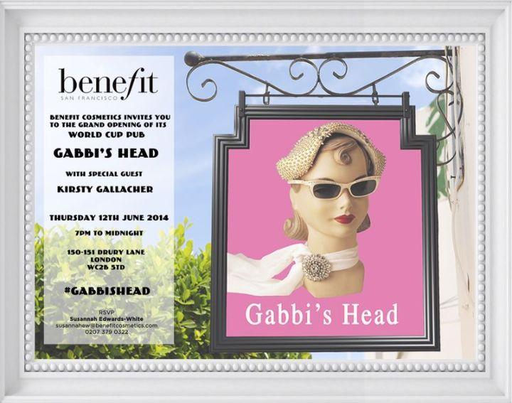 Gabbi's head pop up benefit cosmetics world cup football
