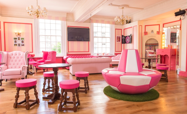 An explosion of pink! You won't even recognise the Prince of Wales Pub from the inside