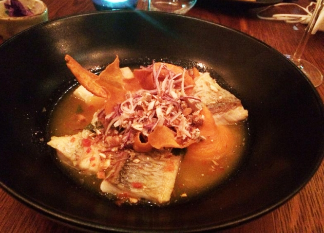 "HOT CEVICHE A LA PIEDRA Sea Bream. Hot Tiger's Milk. Sweet Potato. ""Yuyo"" Seaweed. (£18)"