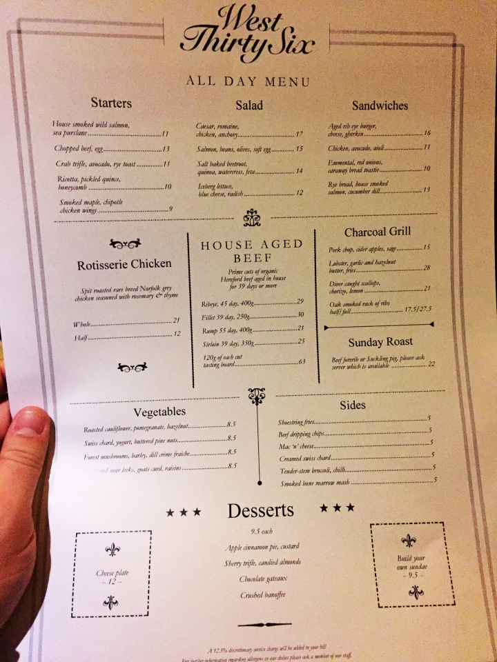 west thirty six notting hill menu