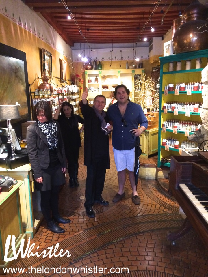 A luxurious perfumery owned by a very excited, talented salesman. We walked out smelling like herbs and petals.